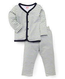 Babyhug Half Sleeves Night Suit Stripes Print - White Green