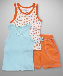 Babyhug Sleeveless Top Vest & Shorts Pack Of 3 - White Blue Orange