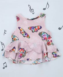 One Friday Girls Butterfly Print Top - Pink