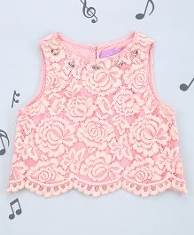 One Friday Girls Lace Scalop Top - Light Pink
