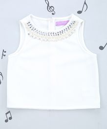 One Friday Girls Dobby Top With Embelishment - Off White