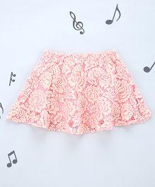 One Friday Girls Lacy Peplum Skirt - Pink