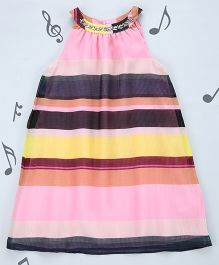 One Friday Girls A Line Dress With Embroidery - Multicolor