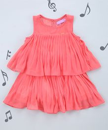 One Friday Girls Pleated Solid Dress - Peach