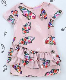 One Friday Girls Satin Printed Party Dress - Pink