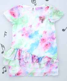 One Friday Girls Satin Printed Dress - Multicolor