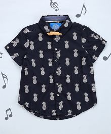 One Friday Boys Printed Shirt With Bow - Black