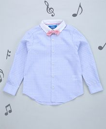 One Friday Boys Printed Shirt With Bow - Blue