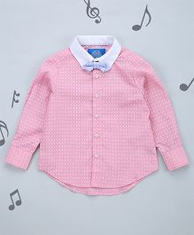 One Friday Boys Printed Shirt With Bow - Pink