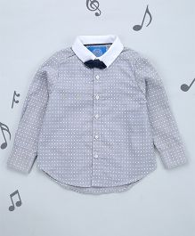 One Friday Boys Printed Shirt With Bow - Grey