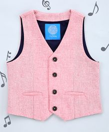 One Friday Boys Cotton Formal Waistcoat - Pink