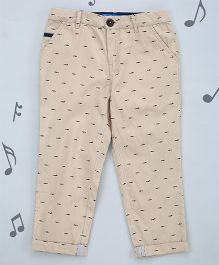 One Friday Boys Soft Cotton Printed Trouser - Nude