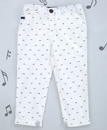 One Friday Boys Soft Cotton Printed Trouser - White