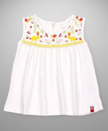 Pinehill Sleeveless Top Floral Bird & Rabbit Print - Off White
