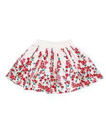 Pinehill Skirt Floral Print - White Red