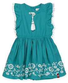 Pinehill Sleeveless Frock Floral Embroidery  - Green