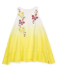 Pinehill Sleeveless Frock Butterfly Embroidery - Yellow