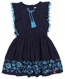 Pinehill Sleeveless Frock Floral Embroidery  - Navy