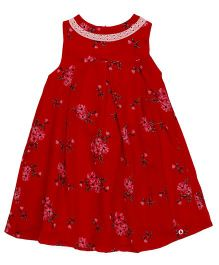 Pinehill Sleeveless Floral Printed Frock - Red