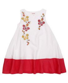 Pinehill Sleeveless Frock Butterfly Embroidery  - White