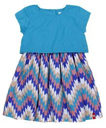 Pinehill Short Sleeves Frock Chevron Pattern - Blue