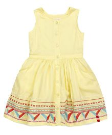 Pinehill Sleeveless Solid Color Embroidered Frock - Yellow