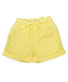 Pinehill Floral Net Design Shorts - Yellow