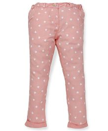 Pinehill Full Length Heart Printed Pant - Pink