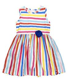 Pinehill Sleeveless Frock Stripes Print - White & Multicolor