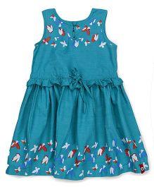 Pinehill Sleeveless Frock Butterfly Print - Dark Cyan Blue