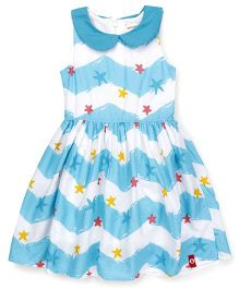 Pinehill Sleeveless Frock Star Print - White & Blue