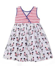 Pinehill Sleeveless Frock Kitty Print - White & Pink