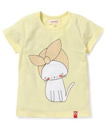 Pinehill Half Sleeves Kitty Printed Tee - Yellow