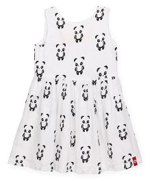Pinehill Sleeveless Frock With Print & Contrast Bow - White