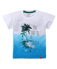 Pinehill Half Sleeves Printed T-Shirt - White & Blue