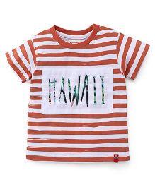Pinehill Half Sleeves Striped T-Shirt Hawaii Print - Coral Orange