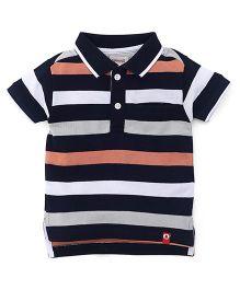 Pinehill Half Sleeves T-Shirt Striped Pattern - Navy Blue