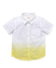 Pinehill Half Sleeves Dual Color Shirt - White Yellow