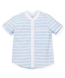 Pinehill Half Sleeves Striped Chinese Collar Shirt - Blue