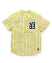 Pinehill Half Sleeves Shirt Stripes Print - Yellow