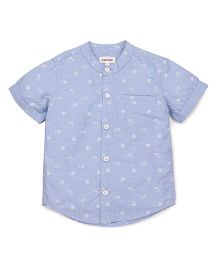 Pinehill Half Sleeves Printed Shirt - Light Blue