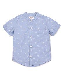 Pinehill Half Sleeves Printed Shirt - Light Blue