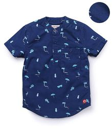 Pinehill Half Sleeves Printed Shirt - Navy