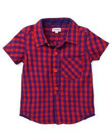 Pinehill Half Sleeves Checks Shirt - Red