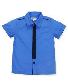 Pinehill Half Sleeves Plain Shirt - Blue Black