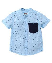 Pinehill Half Sleeves Shirt Allover Star Print - Blue
