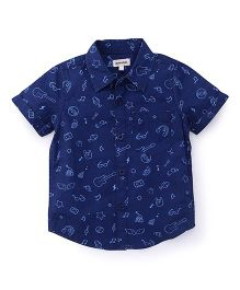 Pinehill Half Sleeves Shirt Multi Print - Navy Blue