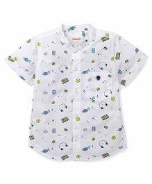 Pinehill Half Sleeves Printed Shirt - White