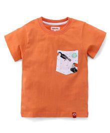 Pinehill Half Sleeves T-Shirt With Printed Pocket - Orange