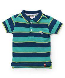 Pinehill Half Sleeves T-Shirt Stripes Print - Green Blue